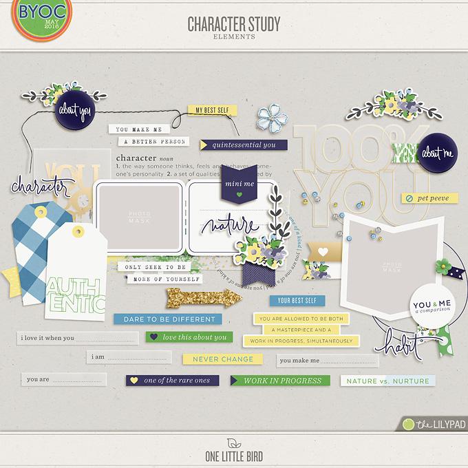 Character Study | Digital Scrapbooking Elements | One Little Bird