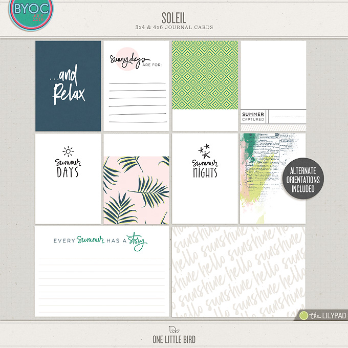 Soleil | Printable Journaling Cards | One Little Bird