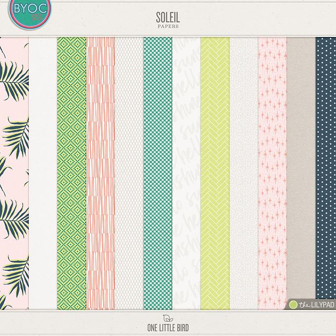 Soleil | Digital Scrapbooking Papers | One Little Bird