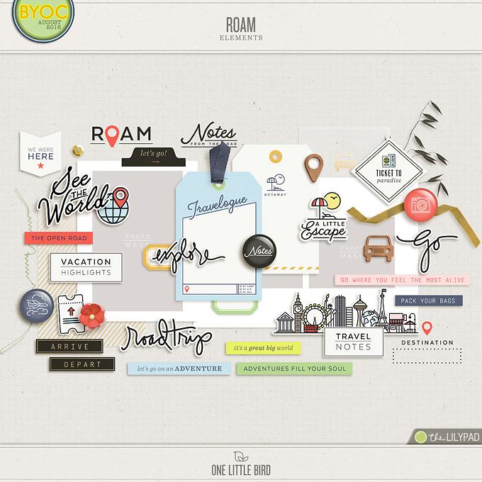 Roam | Digital Scrapbooking Elements | One Little Bird