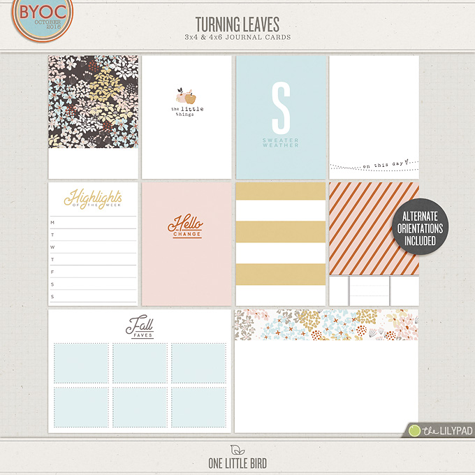 Turning Leaves | Printable Journaling Cards | One Little Bird