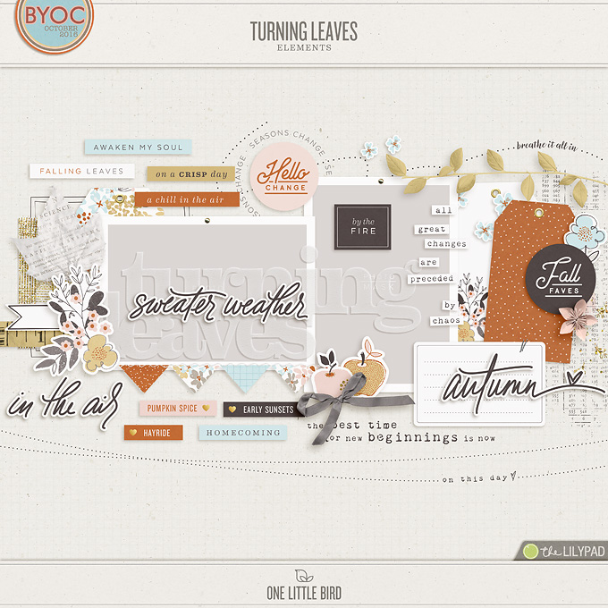 Turning Leaves | Digital Scrapbooking Elements | One Little Bird