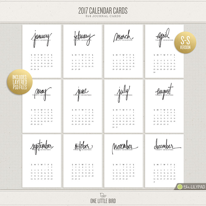 2017 Calendar Cards (Sunday Start) | Printable Journaling Cards | One Little Bird