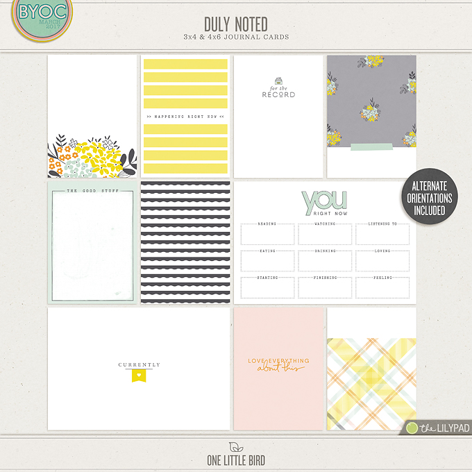 Duly Noted Journaling Cards | One Little Bird